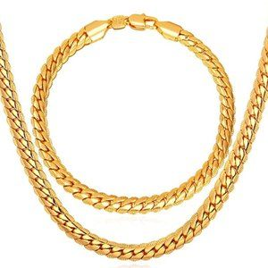 Other - 18KGP Two Piece Bracelet and Chain Set